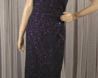 Vintage Black and Purple Metallic Formal Halter Gown Dress Size 15 16 Flirtations Alfred Angelo