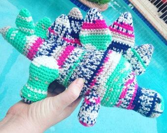 Stegosaurus Toy, Kids Dinosaur Gift, Fair Isle Toy, Striped Stegosaurus, Multicolor Lovey, New Baby Gift, Kids Birthday Gift, Girl Dinosaur