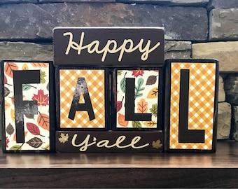Happy Fall Y'all  wood  blocks