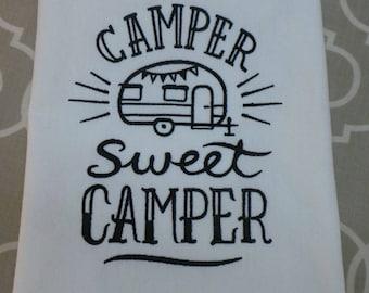 Camper Sweet Camper Kitchen towel, Trailer Towel, Embroidered 3 different colors.