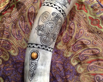 Order Your Custom Horn Today! - Best of Both Worlds, Carved and Scrimshaw Viking Drinking Horn