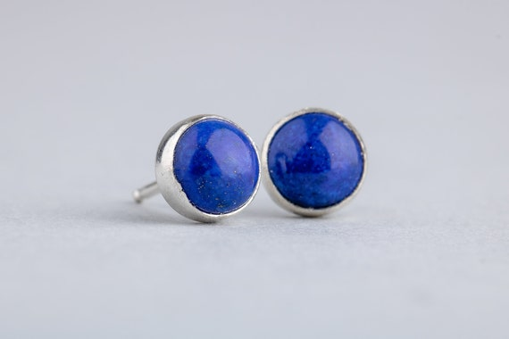 Dark Blue Lapis Lazuli Gemstone Post Stud Earrings in Sterling Silver - Simple Blue Stud Earrings - Choose Your Size 4mm or 8mm