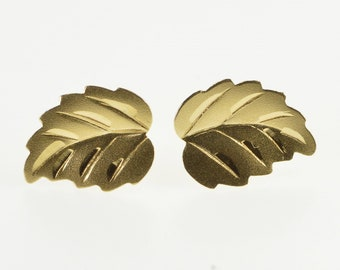14K Textured Stylized Leaf Nature Motif Stud Earrings Yellow Gold