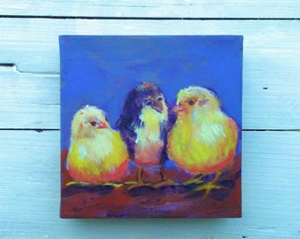 Baby chicks painting, Chicken art, baby chick art, chicken mini painting, Easter gift, chicken lover, chicken collector, 6x6 inches