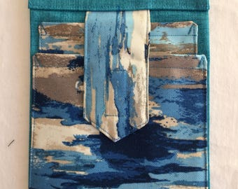 Watercolor blues phone pockets   #B14