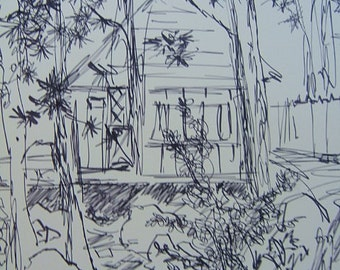 IDYLLWILD CABIN CALIFORNIA, ca. 1982, by D. Messenger, copy. copyright 2014 Ink