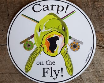 Carp on the Fly! Sticker Decal