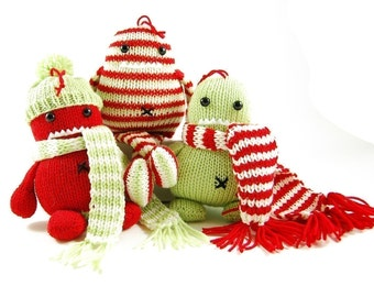 Holly Ivy and Steve Three Christmas Hooligans Ornament Knitting Pattern Pdf INSTANT DOWNLOAD