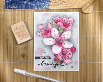 You are Beautiful Floral Love Thinking of You Fancy Greeting Card Handmade in Pink Gray for Wife Girlfriend Sister Mom Daughter Aunt