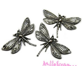 Set of 3 charms silver embellishment dragonflies scrapbooking *.