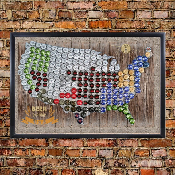 Framed Magnetic Beer Cap Map Of The USA United States US - Beer Map Of The Us