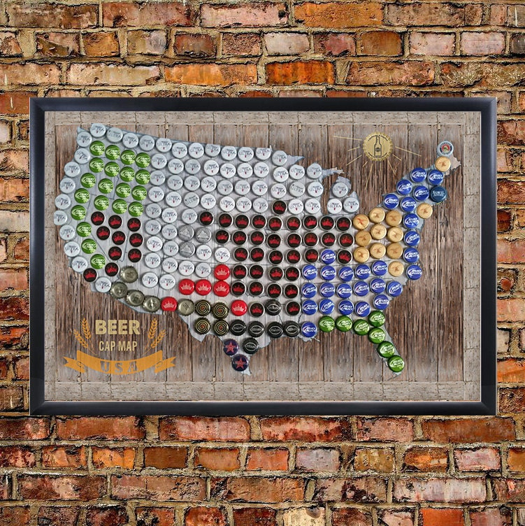 Framed Magnetic Beer Cap Map of the USA United States US
