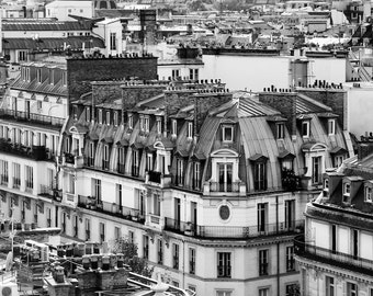 Paris black and white photography, Paris rooftops, Paris photography, black and white photo, French wall art, Paris decor, fine art print