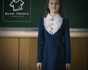 PDF pattern of classic dress with ruffles for girl age 6-13.Dress pdf pattern.PDF sewing pattern.pdf pattern.PDF pattern for girls. pdf