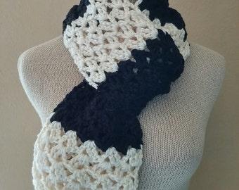 Crochet Black and Cream Striped Scarf, Knit Black and Cream Scarf, Knitted Black  Scarf, Crocheted Black Scarf, Soft and Squishy, Vegan Yarn