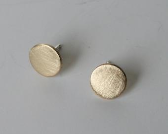 Brass Disc Post Earrings-Dot Earrings- Gold Dot Earrings-Matte finish Dot Earrings-Brass Dot Earrings-9mm Dot Earings