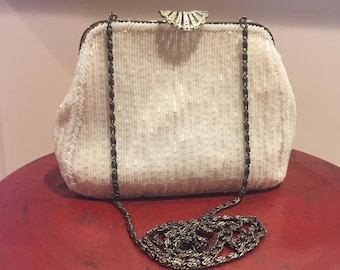 Purse, Vintage Walborg, Hand Beaded, Made in China in the 1960's, Perfect for a Bride, MOB or MOG Condition is excellent for age