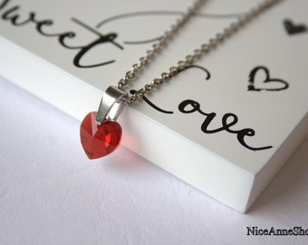 Red Heart Necklace Silver Chain Crystal Glass Heart Love Necklace Chain Necklace Heart Necklace Bridal Jewelry Gift for her Valentine's gift