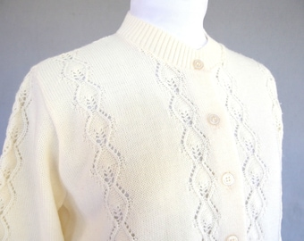 Vintage Cream Cardigan, Ivory Lacy Diamond Sweater, Modern Size 14, Large