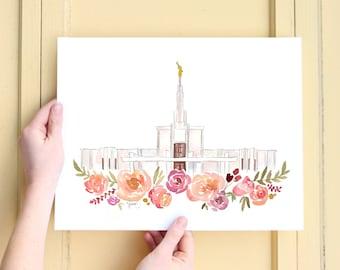 Denver, Colorada LDS Temple Watercolor Print