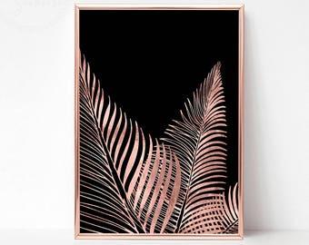 Rose Gold Tropical Print, Printable Tropical Leaf Print, Fern Print, Tropical Wall Poster, Fern Wall Print, Printable Fern Wall Art Decor