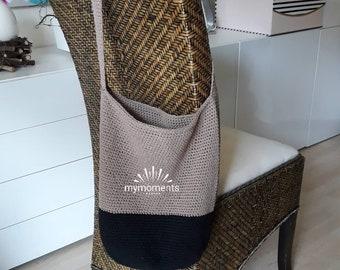 Crochet  BAG / Shopper Cotton, nougat/ black