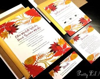 Fall Watercolor Flourish Damask Custom Wedding Invitation Orange Green Red Gold Purple Tree Outdoor Oak Maple Garden Nature Design Modern