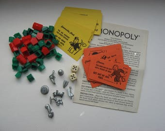 Vintage Monopoly Pieces//8 Metal Game Pieces//Includes Retired Pieces/Cards/Dice/ Houses/Art Craft Supply/Jewelry Making Supply/Collectible