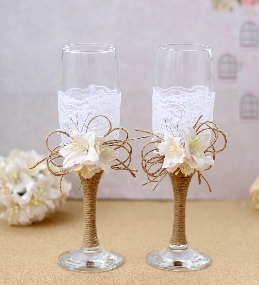 Wedding Champagne Glasses Rustic Wedding Burlap and Lace