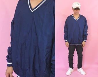 Vintage windbreaker jacket vneck windbreaker jacket blue jacket size xl 1990s 1980s 90s 80s