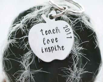 Teach Love Inspire Keychain - Teacher Gifts - Teacher Appreciation - Apple Keychain -  2017 Teacher of the Year - Preschool Teacher Gift