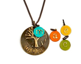Personalized|gift|for|mom|Mothers Day Gift|from daughter|Mom|Stamped|Necklace|family tree necklace|Personalized Mom|from daughter|Monogram|