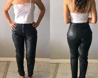 Vintage Harley-Davidson High Waisted Leather Pants 1990's HD Leather