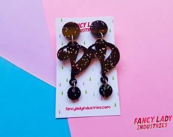 Interrobang Earrings, Exclamation Mark Earrings, Question Mark Earrings, Typography Earrings, Dangle Earrings