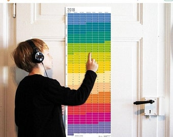 ON SALE Wallplanner 2018 Calendar 2018 Wall Calendar Planner minimalistic rainbow colours Wall decoration Poster Color Print