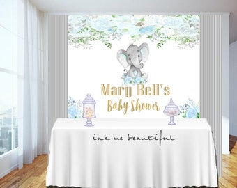 Candy Table Backdrop, Baby Shower, Birthday Party, Baby Boy, Blue Elephant,Elephant, Flowers, Floral