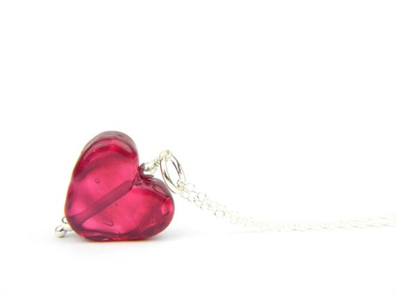 Art Glass Pendant - Medium Cranberry Heart Glass Bead Sterling Silver Pendant - Classic Collection