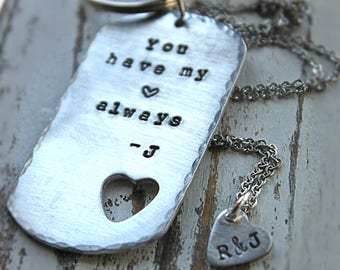 Valentine Day Special Sale. Custom Heart Cutout. Keychain and Necklace Set. Custom Handstamped. Silver