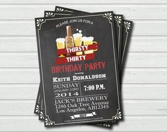 30th birthday invitation. Surprise 30th birthday Retro beer chalkboard invite. Thirsty thirty printable adult birthday invitation. AB005