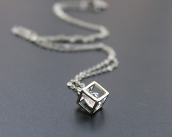 cubic zirconia rattling inside a cube pendant Necklace - S2106-1