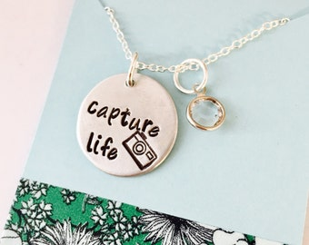 Camera Necklace, Camera Jewelry, Photographer Gift, Capture Life, Hand stamped Jewelry, Photography, Gift for photographer
