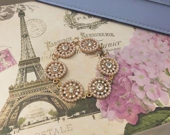 Vintage Inspired Gold Crystal Pearl Bracelet - 6.5 Inch