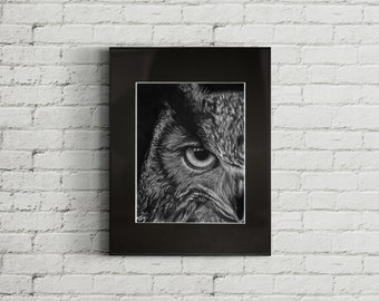 Great Horned Owl, Graphite Drawing Print
