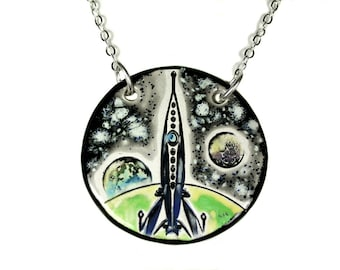Rocket in Space Ceramic Necklace with Chain