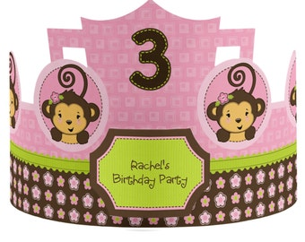 Custom Party Hats - Pink Monkey Girl Birthday Party Supplies - 8 Count
