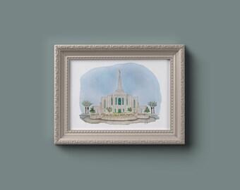 Gilbert LDS Temple Watercolor Print