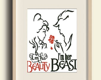BUY 2 GET 1 FREE /Beauty and the Beast Tale as old as time Belle Beast Prince cross stitch pdf Pattern - pdf#C19