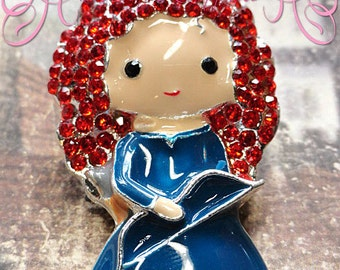 "2"" Adorable Enamel and Rhinestone Merida Inspired Pendant"