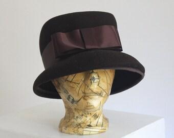 Brown wool felt ladies fashion bucket hat with satin bow Canada union made