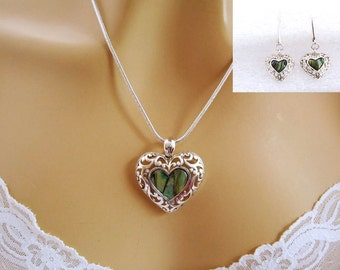Heart Jewelry Set, Green Heart Necklace, Heart Earrings Set, Silver Filigree, Romantic Jewellery Set, Romantic Jewelry Gifts for Women